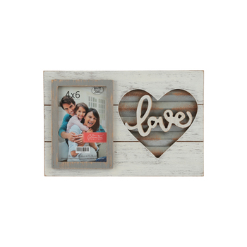 Green Tree Gallery Wood And Tin Love Photo Frame For 4 X 6 Inch Photo 11 5 8 X 7 3 4 Inches Mardel