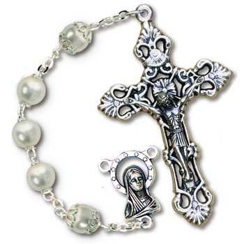 Two Tone Grey Glass Rosary with Capped Pearl Our Father Beads