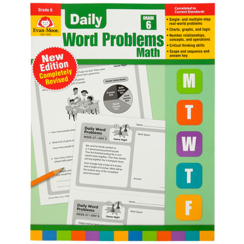 Evan-Moor, Daily Word Problems Teacher's Edition, Paperback, 128 Pages, Grade 6