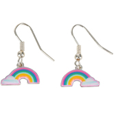 Glitter and Grace, Rainbow and Cloud Dangle Earrings, Zinc Alloy, Silver