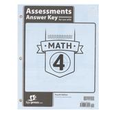 BJU Press, Math 4 Assessments Answer Key, 4th Edition, Grade 4