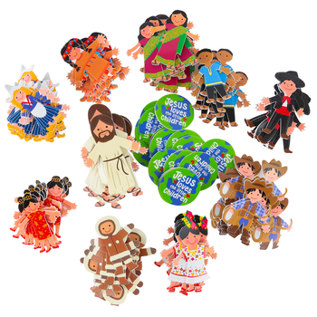 Playside Creations, Jesus Loves the Little Children Foam Stickers, Classroom Pack, 110 pieces