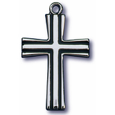 H.J. Sherman, Medium Flared Cross With Black Out Line Cross Pendant Necklace, Sterling Silver, 18 Inch Chain