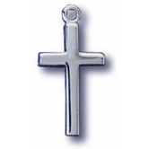 Small Flat Silver Cross Pendant Necklace