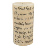 Lords Prayer Engraved Pillar Candle, Brown, 4 x 8 inches
