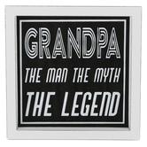 Grandpa Man Myth Legend Framed Wall Decor, Wood, Black and White, 6 5/8 x 6 5/8 x 1 5/16 inches