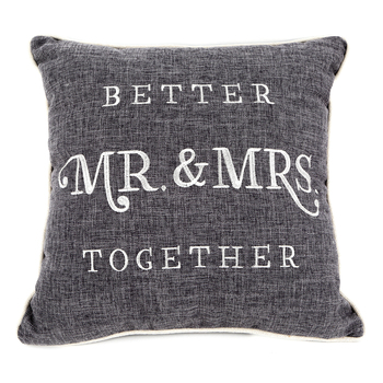 Christian Art Gifts, Better Together Mr & Mrs Square Pillow, Polyester, Gray & White, 18 inches