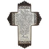 Matthew 6:9-13 Lord's Prayer Floral Trim Wall Cross, Resin, 12 x 8 3/4 x 1/2 inches