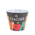 Burton + Burton, #1 Teacher Potted Plant Cover, Melamine, Black/White, 4 1/2 x 5 1/8 inches