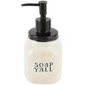 Young's, Soap Y'all Soap Dispenser, Black/Cream, 3 1/3 x 7 Inches