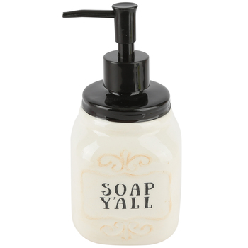 Young's, Soap Y'all Soap Dispenser, Black/Cream, 3 1/3 x 7 Inches