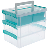 Three Tiered Storage Container, Clear & Turquoise, 8 x 6 x 7 inches