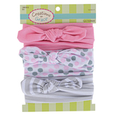 Creations of Grace, Baby Bow Knot Polka Dot & Stripe Headbands, Pink & Gray, 1 Each of 3 Designs