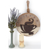 Rustic Coffee Cup Wall Plaque, Wood and Tin, 15 1/2 in Diameter
