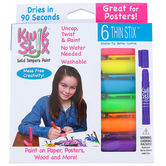 The Pencil Grip, Kwik Stix Thin Stix Solid Tempera Paint, Non-Toxic, Neon Colors, Set of 6