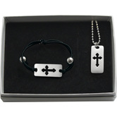 Abbey and CA Gift, Cross Pendant Necklace and Bracelet Set, Black and Silver, 18 Inches