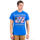 Red Letter 9, Matthew 5:9, Peacemakers Air Force Short Sleeved T-Shirt, Royal Blue, M-3XL