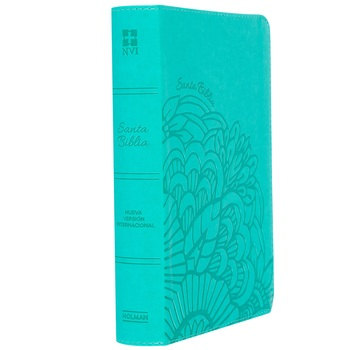 NVI Personal Size Large Print Reference Spanish Bible, Imitation Leather, Aqua, Floral Design