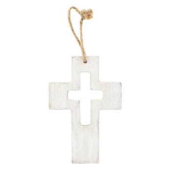 Distressed Wood Mini Wall Cross with Cutout, MDF, White, 5 x 3 1/2 inches