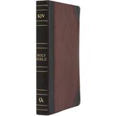 KJV Thinline Bible, Large Print, Premium Leather, Brown & Tan, Thumb Indexed