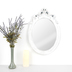 Oval Ornate Mirror, Glass & Styrene, Distressed White, 23 1/2 x 16 inches