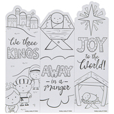 Brother Sister Design Studio, Nativity Coloring Bookmarks, 2 x 6 1/4 inches, 8 Each of 3 Designs