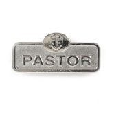 B&H Publishing Group, Pastor Badge with Cross, Zinc Alloy, Silver, 2 x 2/3 inches