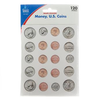 Carson-Dellosa, Money, U.S. Coins Shape Stickers, 120 Stickers