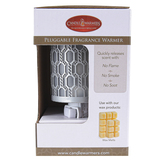 Candle Warmers, Filigree Plug-In Fragrance Warmer, Metal, Silver & White, 5 x 2 1/2 x 3 3/4 inches