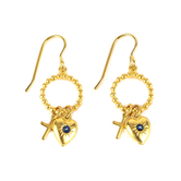 Loved By Design, Heart with Stone/Cross Dangle Earrings, Gold Plated