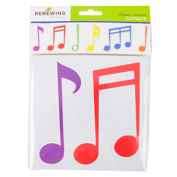 Renewing Minds, Music Notes Large Cutouts, Multi-Colored, 6 Inches, 6 Designs, 36 Pieces