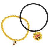 Glitter and Grace, Romans 12:12 Bee Joyful Always Charm Bracelet Set, Black/Yellow, 2 Pieces