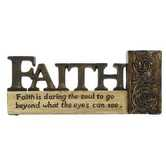 Tabletop Plaque, Faith, Resin, Stone and Brown, 6 1/4 x 2 5/8 inches