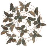 Round of Butterflies Wall Decor, Metal, Turquoise and Copper, 19 x 17 3/8 x 1 3/4 inches