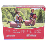HearthSong, Inflatable Hop N Go Horses, Brown, 48 x 35 inches, Set of 2