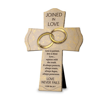 Lighthouse Christian Products, Joined in Love Cast Stone Table Cross, Ivory and Gold, 7 1/2 x 10 inches