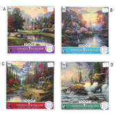 Thomas Kinkade, Scenic Jigsaw Puzzle with Poster, 4 Assorted Designs, 1,000 Pieces, 20 x 19 inches