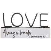 1 Corinthians 13:7 Love Always Trusts Table Decor, Resin, White, 7 x 3 1/2 x 7/8 Inches
