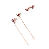 Faithful and Fabulous, Pink Heart Earring Set, Brass and Glass and Zinc Alloy, Pink and Gold, 2 Pairs