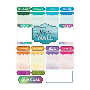Retro Chic Collection, Focus Wall Bulletin Board Set, Multi-Colored, 23 Pieces