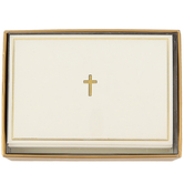 Peter Pauper Press, Inc., Gold Cross Note Cards, Ivory, 14 Cards with Envelopes