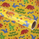 Brother Sister Design Studio, Happy Birthday Dino Gift Wrap Roll, 50 Square Feet