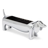 Gadgets And Gizmos, Dachshund Ring Holder, Metal, Silver, 1 3/8 x 5 11/16 x 2 5/16 inches