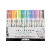 Zebra, Mildliner Creative Marker Set, Double-Ended, 1 Each of 15 Colors