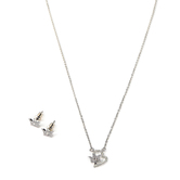 Faithful and Fabulous, Heart with Crown Necklace and Earring Set, Brass, Silver, 20 Inch Chain, 3 Pieces