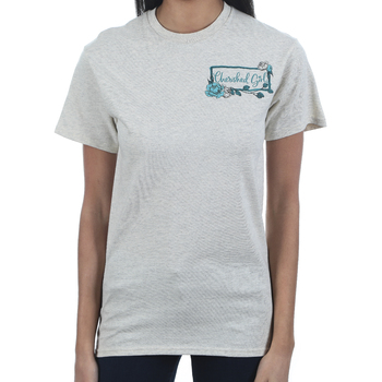 Cherished Girl, Matthew 6:33 Country Born Heaven Bound, Women's Short Sleeved T-Shirt, Oatmeal Heather, S-3XL