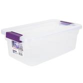 Sterilite, Clear View Latch Box, Plastic, Clear & Purple, 6 Quarts, 14 x 7 3/4 x 5 inches