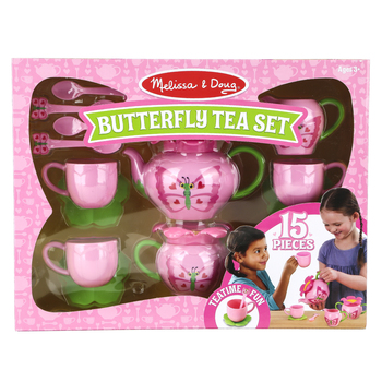 Melissa & Doug, Bella Butterfly Pretend Play Tea Set, 15 Pieces, Ages 3 and Older