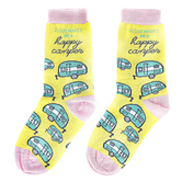 Kerusso, Jesus Makes Me A Happy Camper, Unisex Crew Socks, Yellow, 1 Pair, One Size Fits Most