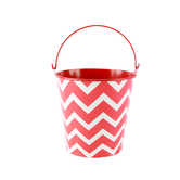 Isabella Collection, Small Bucket, Red and White Chevron, 4.5 x 4 Inches